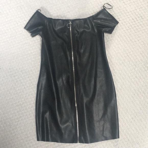 Zara Dresses & Skirts - Black Zara Zip Front Leather Dress
